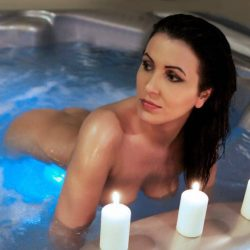 carla in the pool with candles